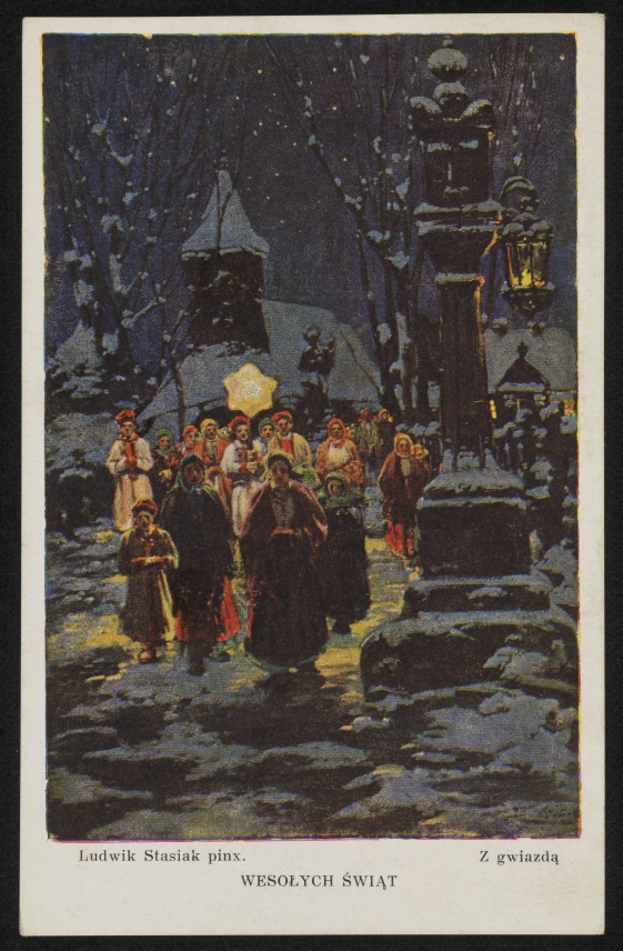 kartka świąteczna z kolędnikami