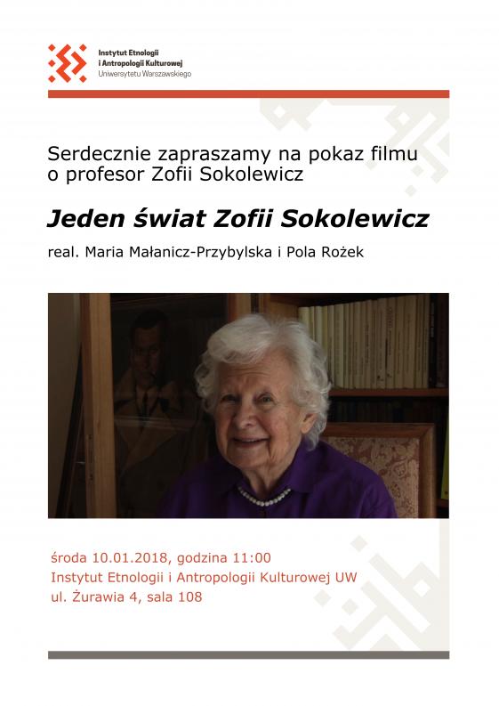 plakat ze zdjęciem prof. Zofii Sokolewicz
